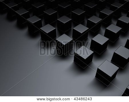 Black Metallic Background With Cubes