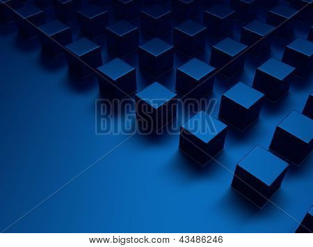 Blue Metallic Background With Cubes