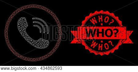 Mesh Polygonal Telephone Call On A Black Background, And Who Query Textured Ribbon Stamp. Red Seal H