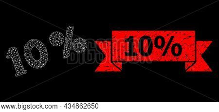 Mesh Net 10 Percents On A Black Background, And 10 Percent Grunge Ribbon Seal Imitation. Red Seal Ha