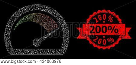 Mesh Polygonal Speed Gauge On A Black Background, And 200 Percent Unclean Ribbon Stamp. Red Stamp Se