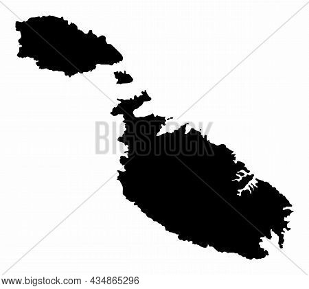 Malta Silhouette Map Isolated On White Background