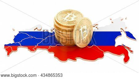 Bitcoin Cryptocurrency In Russia, 3d Rendering Isolated On White Background