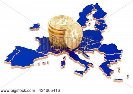 Bitcoin Cryptocurrency In The European Union, 3d Rendering Isolated On White Background