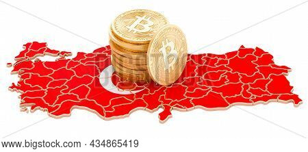 Bitcoin Cryptocurrency In Turkey, 3d Rendering Isolated On White Background