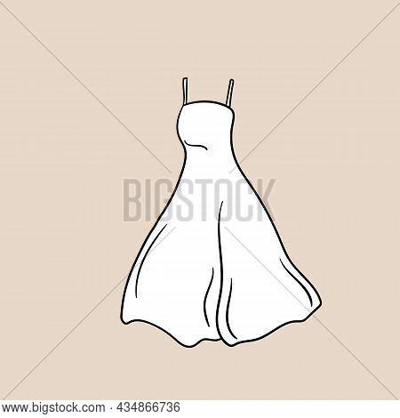 Lovely Feminine Elegant Beautiful White Dress. Trendy Dresses Icon. Women Cloth Element. Feminine Sy
