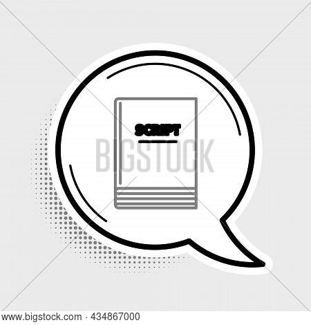 Line Scenario Icon Isolated On Grey Background. Script Reading Concept For Art Project, Films, Theat