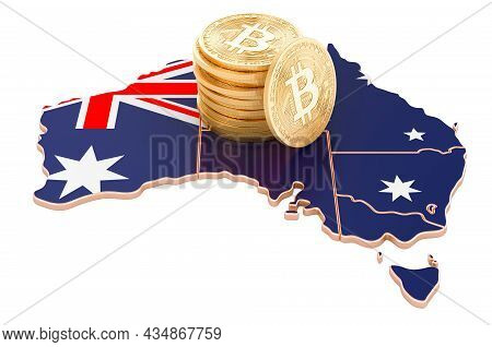 Bitcoin Cryptocurrency In Australia, 3d Rendering Isolated On White Background