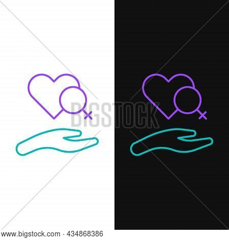 Line Heart With Female Gender Symbol Icon Isolated On White And Black Background. Venus Symbol. The