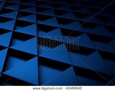 Blue Metallic Background With Triangles.