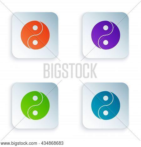 Color Yin Yang Symbol Of Harmony And Balance Icon Isolated On White Background. Set Colorful Icons I