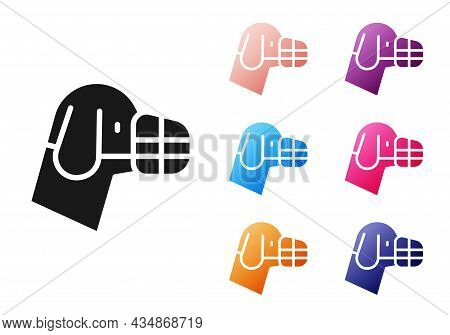 Black Dog In Muzzle Icon Isolated On White Background. Accessory For Dog. Set Icons Colorful. Vector