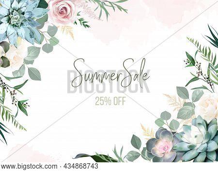 Greenery, Pink Rose Flowers, Echeveria Succulent Vector Design Invitation Frame