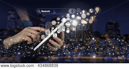 Social Media Concept. Communication Network. Hand Touch White Tablet With Digital Hologram Social Me