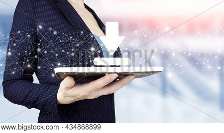 Download Data Storage Business Technology Network Concept. Hand Hold White Tablet With Digital Holog