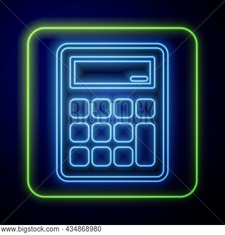Glowing Neon Calculator Icon Isolated On Blue Background. Accounting Symbol. Business Calculations M