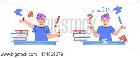 Schoolboy Thinking And Asking Question, Then Solving Task, Flat Cartoon Vector Illustration Isolated