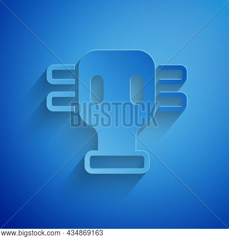 Paper Cut Gas Mask Icon Isolated On Blue Background. Respirator Sign. Paper Art Style. Vector