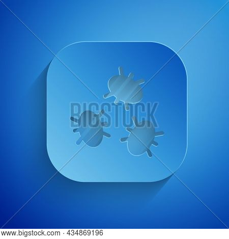 Paper Cut Bacteria Icon Isolated On Blue Background. Bacteria And Germs, Microorganism Disease Causi