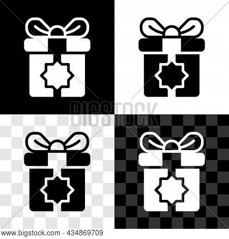 Set Gift Box Icon Isolated On Black And White, Transparent Background. Holy Month, Ramadan, Christma