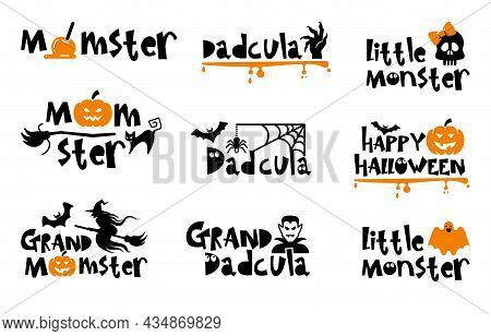 Halloween Typography Logo Design With Quotes - Momster Dadcula And Little Monster