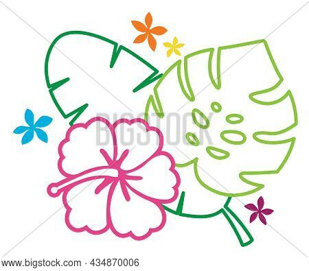 Tropical Foliage Outlines   Monstera, Banana Leaf And Hibiscus Flower   Neon Tropical Plants   Flora