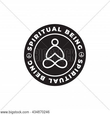Spiritual Being - Yoga, Meditation, Zen Vector Symbol. Vector T-shirt Design