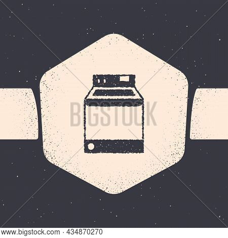 Grunge Washer Icon Isolated On Grey Background. Washing Machine Icon. Clothes Washer - Laundry Machi