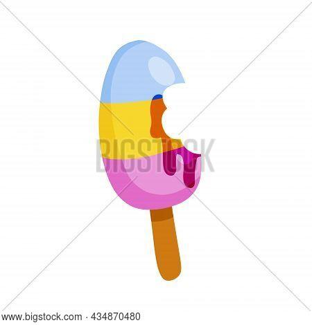 Bitten Ice Cream On Stick. Summer Dessert.