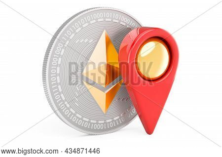 Ethereum With Map Pointer. 3d Rendering Isolated On White Background