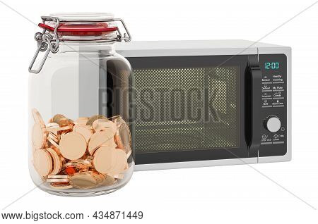 Microwave Oven With Glass Jar Full Of Golden Coins, 3d Rendering Isolated On White Background