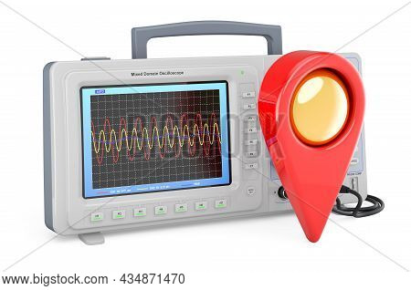 Oscilloscope With Map Pointer. 3d Rendering Isolated On White Background