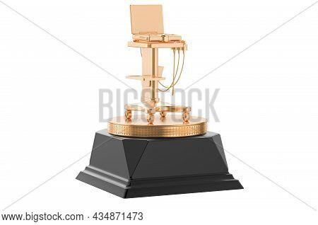 Portable Medical Ultrasound Diagnostic Machine, Scanner Golden Award Concept. 3d Rendering Isolated