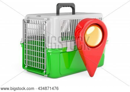 Pet Travel Plastic Cage With Map Pointer. 3d Rendering Isolated On White Background