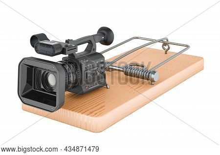 Professional Video Camera Inside Mousetrap, 3d Rendering Isolated On White Background