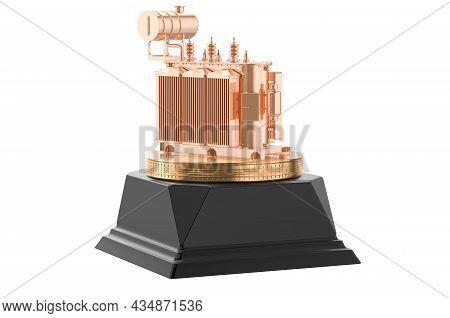 Transformer Oil Golden Award Concept. 3d Rendering Isolated On White Background