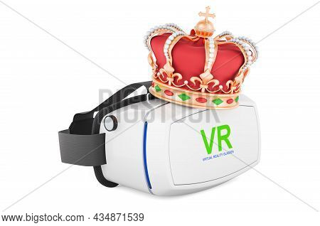 Vr Virtual Reality Glasses With Golden Crown, 3d Rendering Isolated On White Background