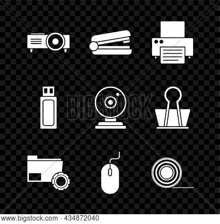Set Presentation, Movie, Film, Media Projector, Office Stapler, Printer, Folder Settings With Gears,