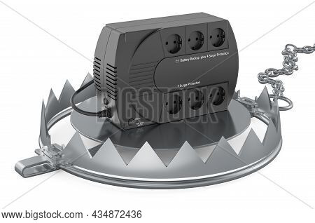Bear Trap With Uninterruptible Power Supply, Ups. 3d Rendering Isolated On White Background