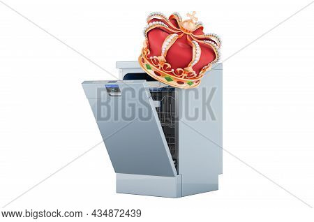 Dishwasher With Golden Crown, 3d Rendering Isolated On White Background