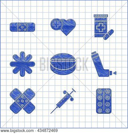 Set Medicine Pill Or Tablet, Syringe, Pills Blister Pack, Inhaler, Crossed Bandage Plaster, Hospital