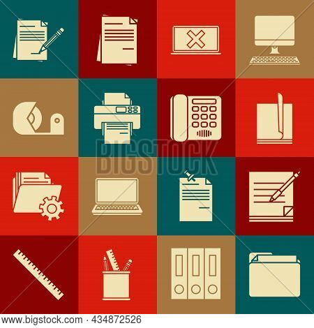 Set Document Folder, Blank Notebook And Pen, File Document, Laptop Cross Mark On Screen, Printer, Sc