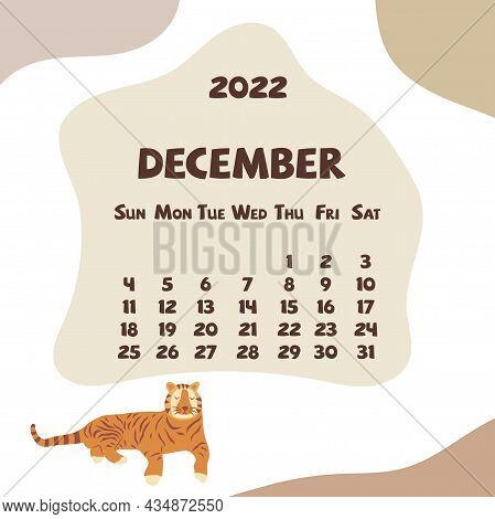 2022 December Calendar With Abstract Shapes And Tiger. Colorful Modern Calendar With Trending Colors