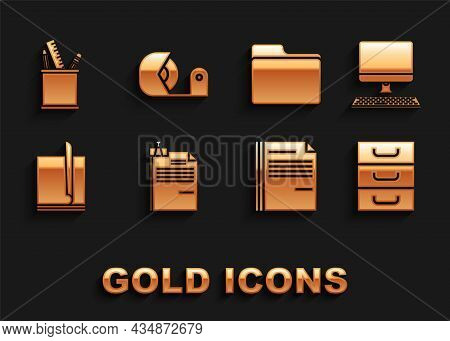 Set File Document And Binder Clip, Computer Monitor With Keyboard, Drawer Documents, Document Folder