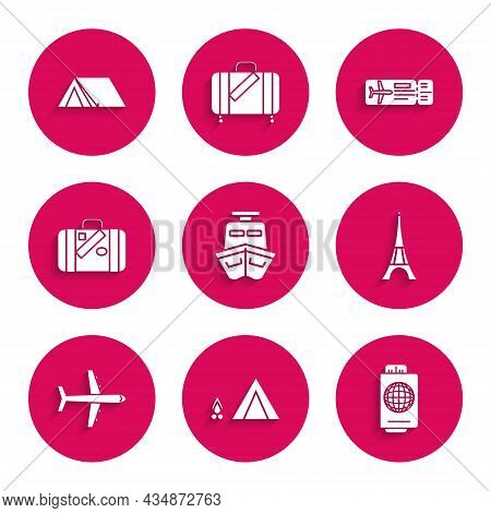 Set Ship, Tourist Tent With Wood Fire, Passport Ticket, Eiffel Tower, Plane, Suitcase For Travel And