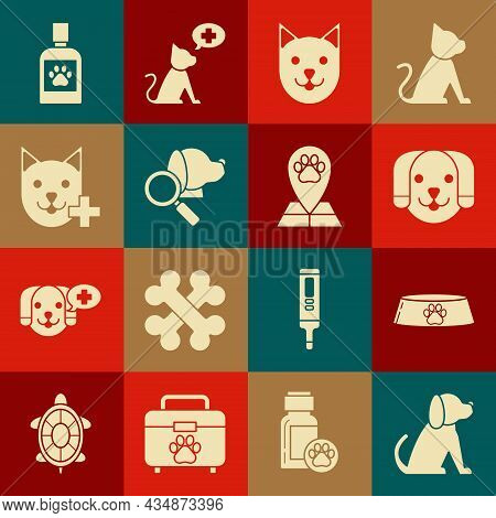 Set Dog, Pet Food Bowl For Cat Or Dog, Cat, Veterinary Clinic Symbol, Medicine Bottle And Map Pointe