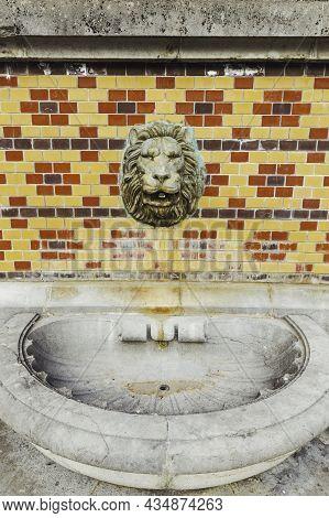 Massandra, Crimea - February 10, 2015. Fountain In Shape Of Lion Head In Massandra Palace. Chateaues