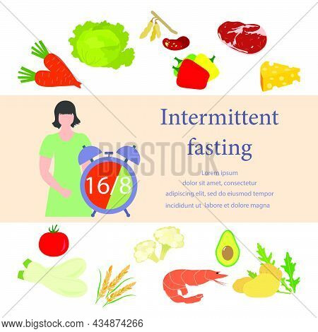 Vector Illustration Nutrition Consultant Explains Intermittent Fasting Method 16/8, Time-restricted