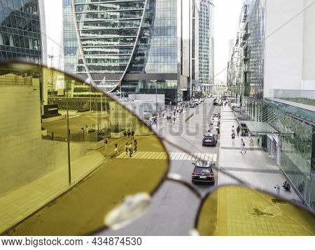 Moscow, Russia - August 22, 2021. View On Modern Glass Walls Of Moscow-city Business Center Through