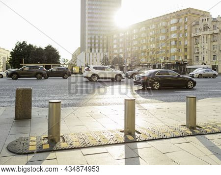 Moscow, Russia - August 08, 2021. Cars On City Road In Historical Center Of Moscow. Traffic On Smole